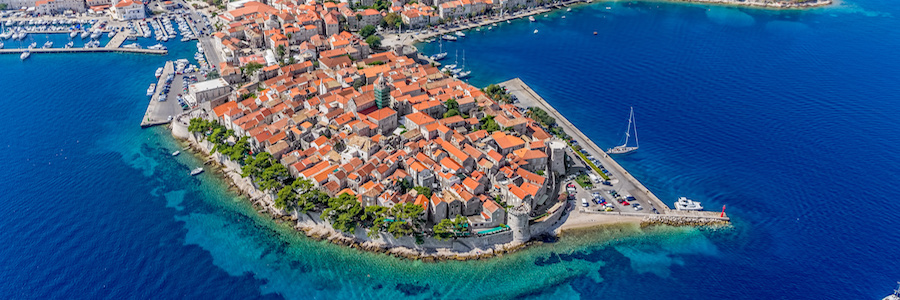 aerial view of the island of korcula